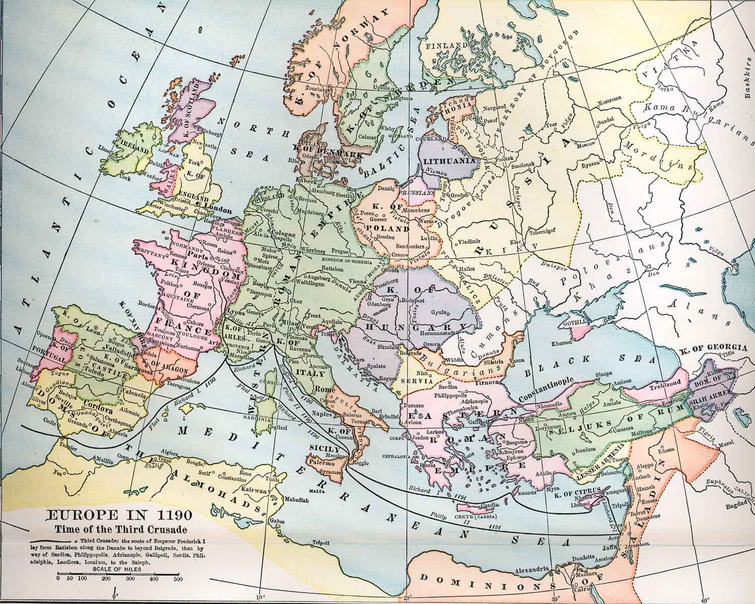 Political Medieval Maps Europe in 1190