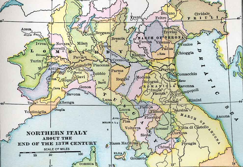 Medieval Map Of Italy.Political Medieval Maps Northern Italy At About The End Of The