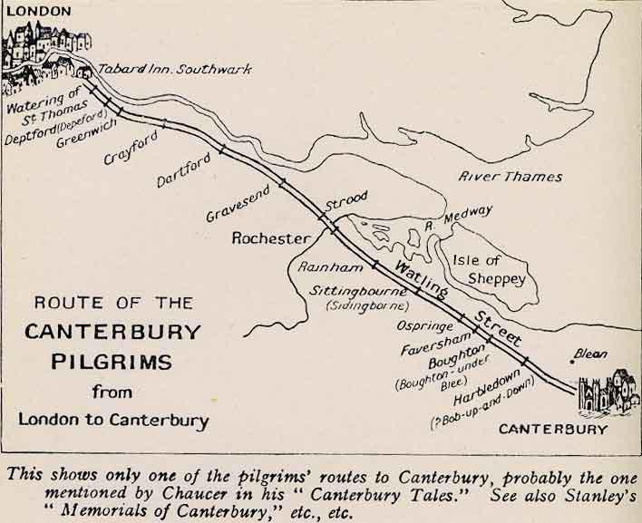 Les grands pèlerinages chrétiens à partir de l`Angleterre au Moyen-Âge - Canterbury -Terre-Sainte - Rome - Compostelle Map056