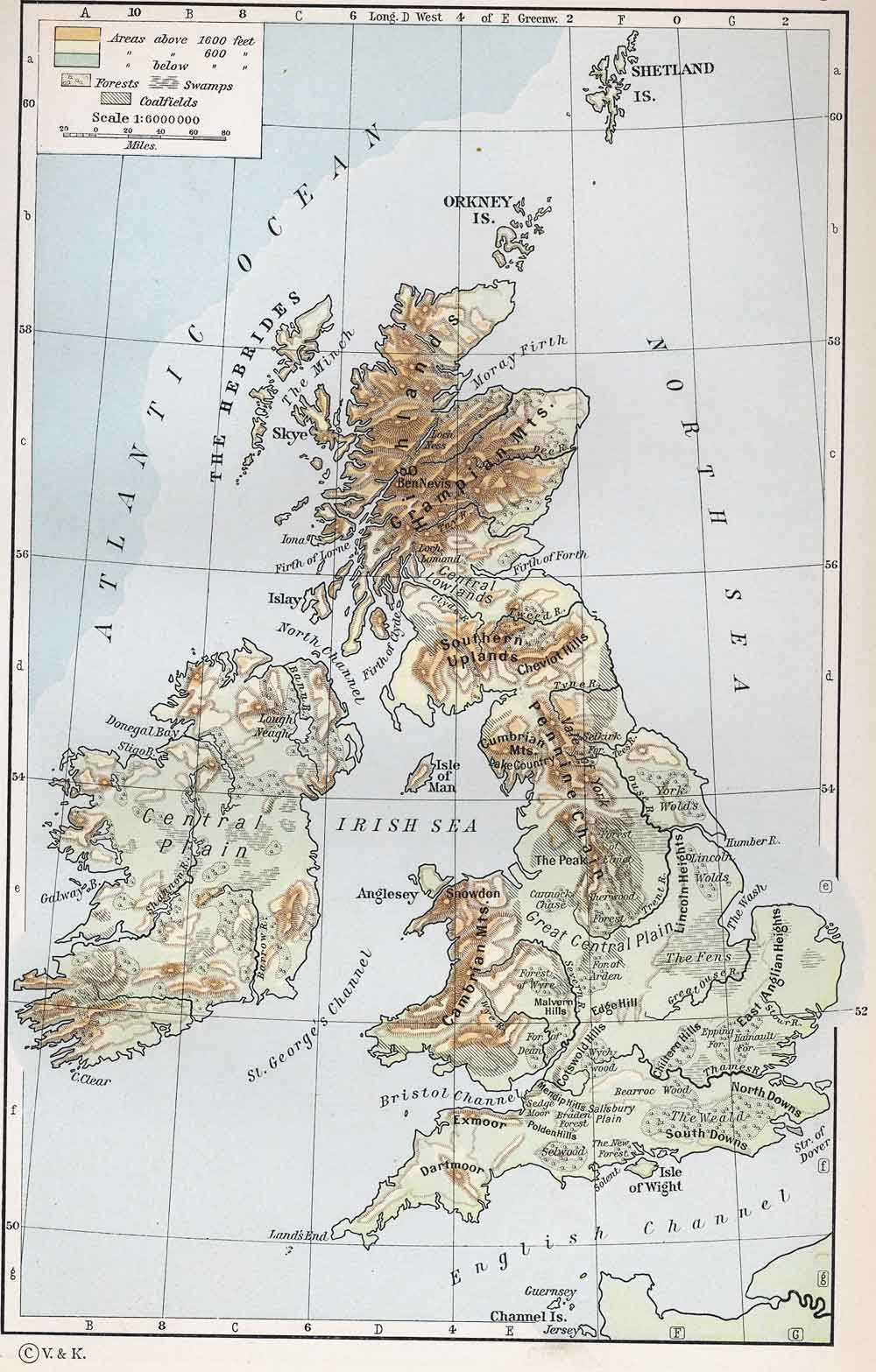Physical Map of the British Isles