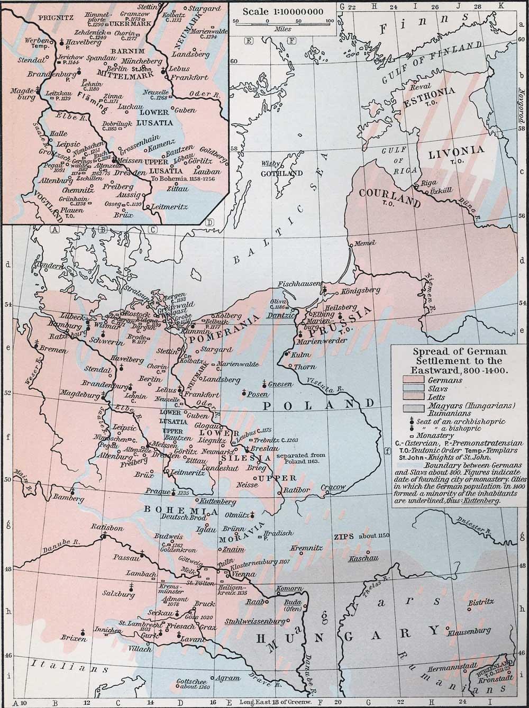 Spread of German Settlements to the Eastward