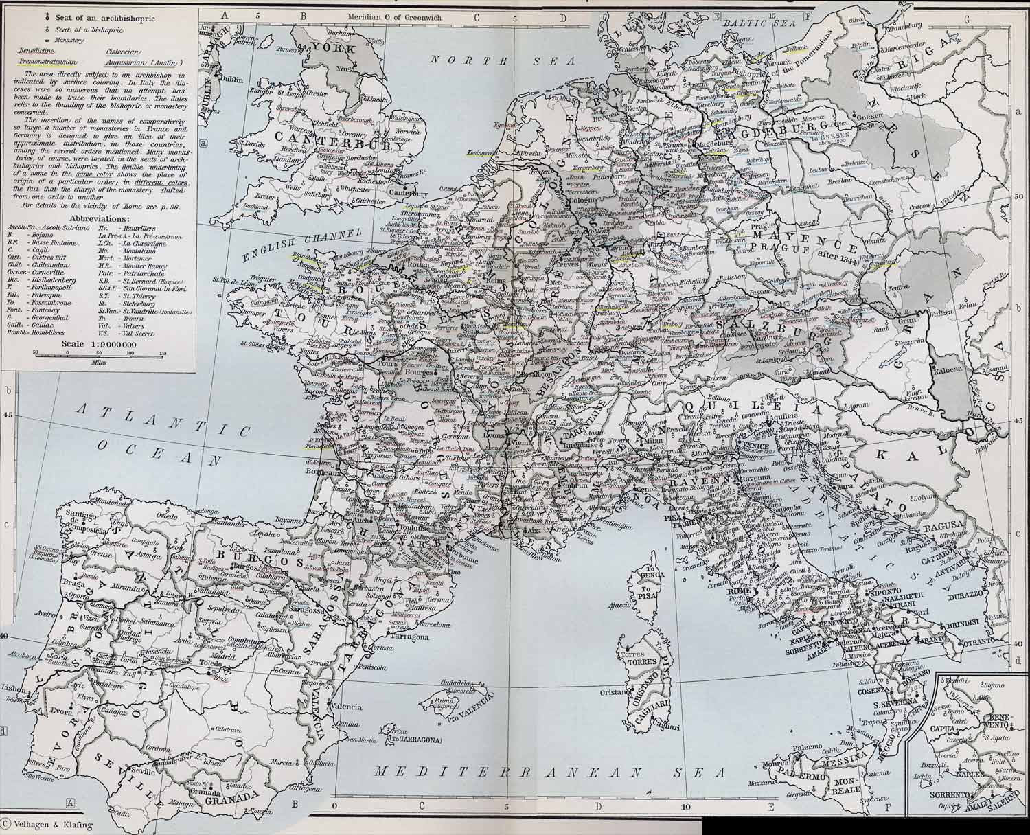 Ecclesiastical Map of Western Europe in the Middle Ages