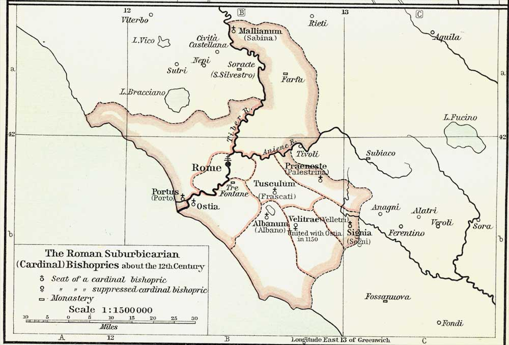 The Roman Suburbicarian (Cardinal) Bishoprics about the Twelfth Century