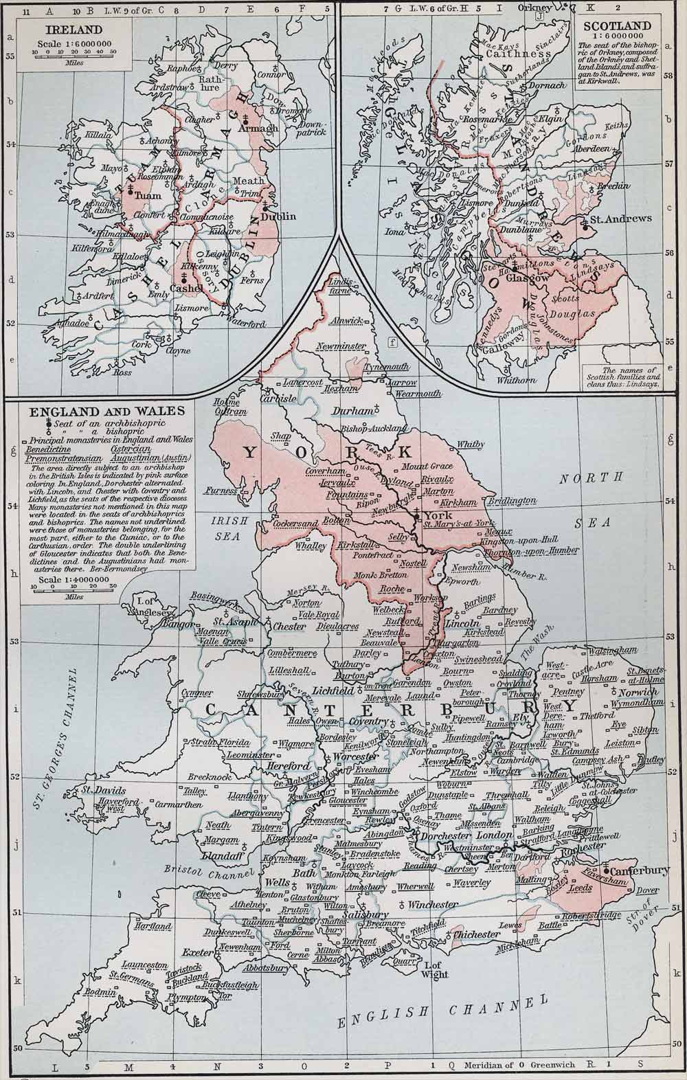 Ecclesiastical Map of the British Isles in the Middle Ages